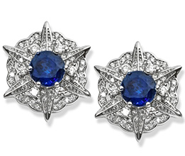 18K White gold Kyanite Diamond Compass Earrings