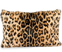 Real Rabbit Fur Printed Leopard Pillow