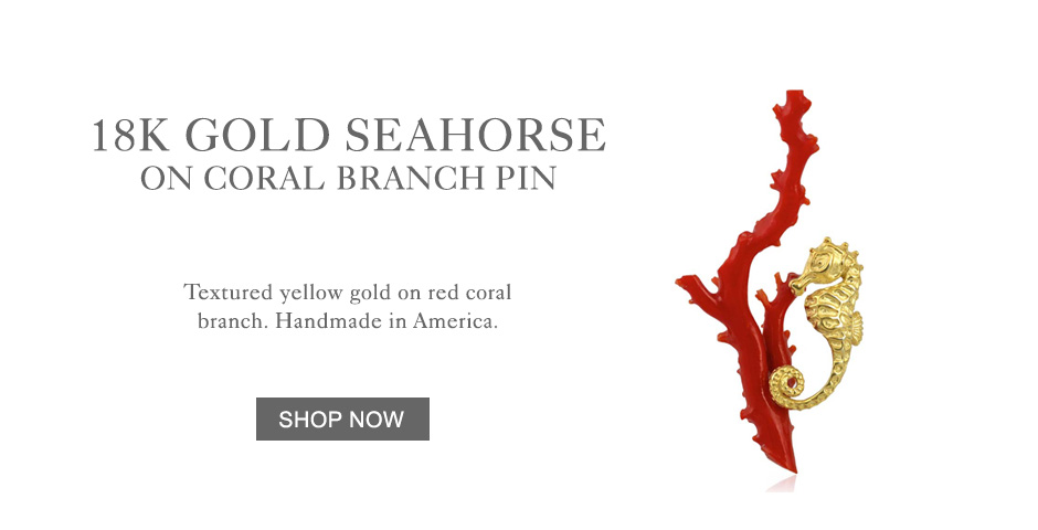 18k Yellow Gold Seahorse on Coral Pin