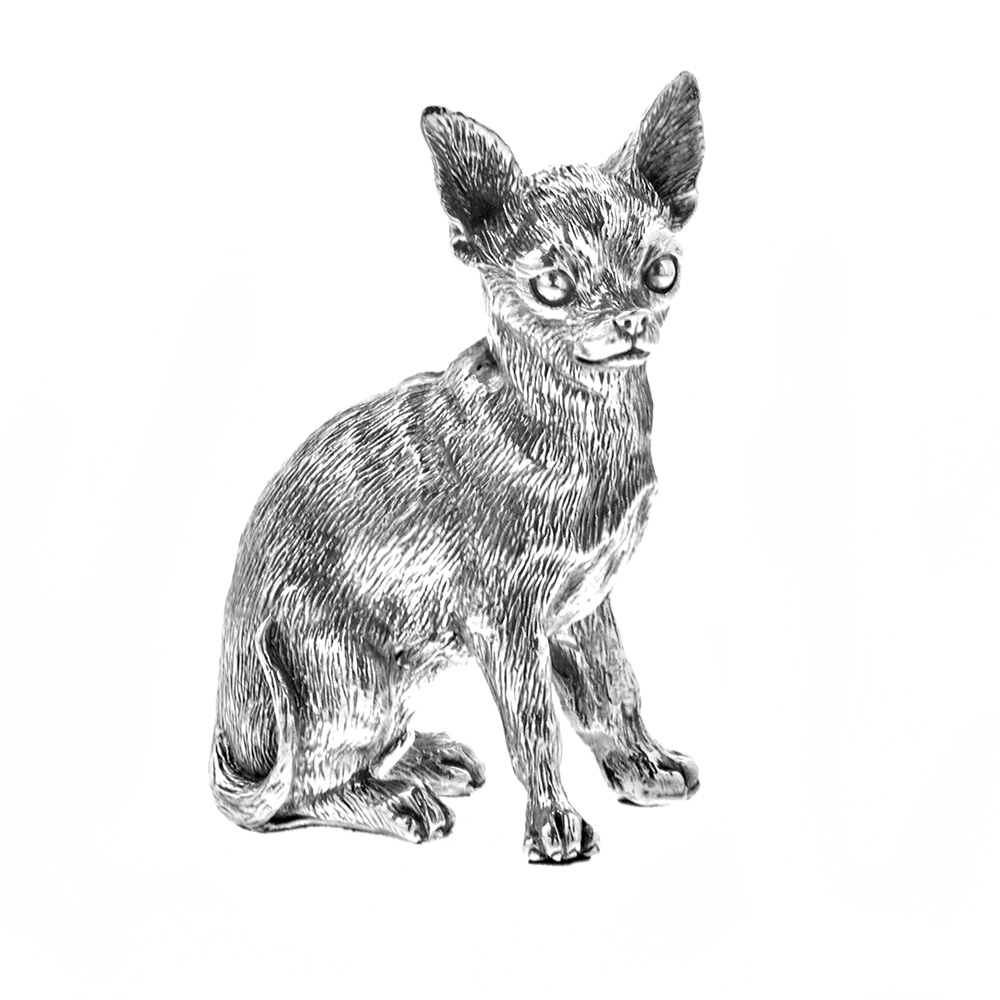 Sterling Silver Chihuahua Sculpture
