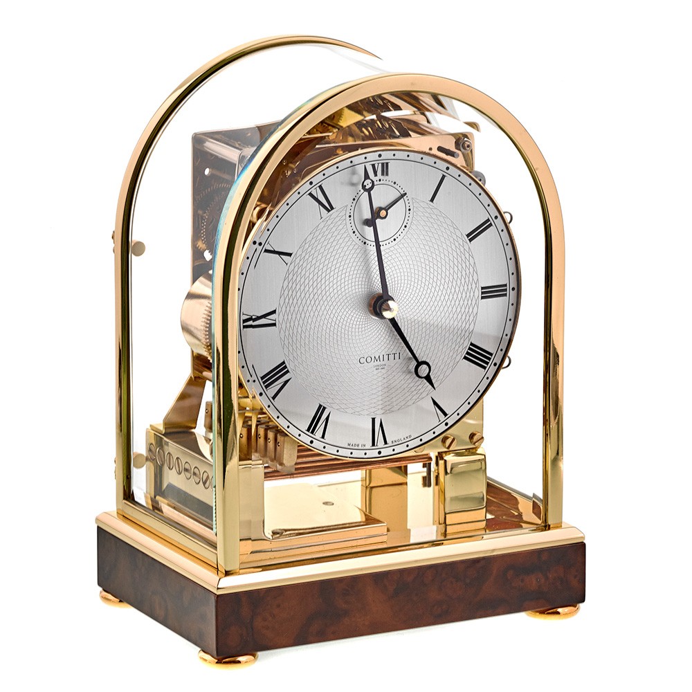 Burr Walnut Brass Clock