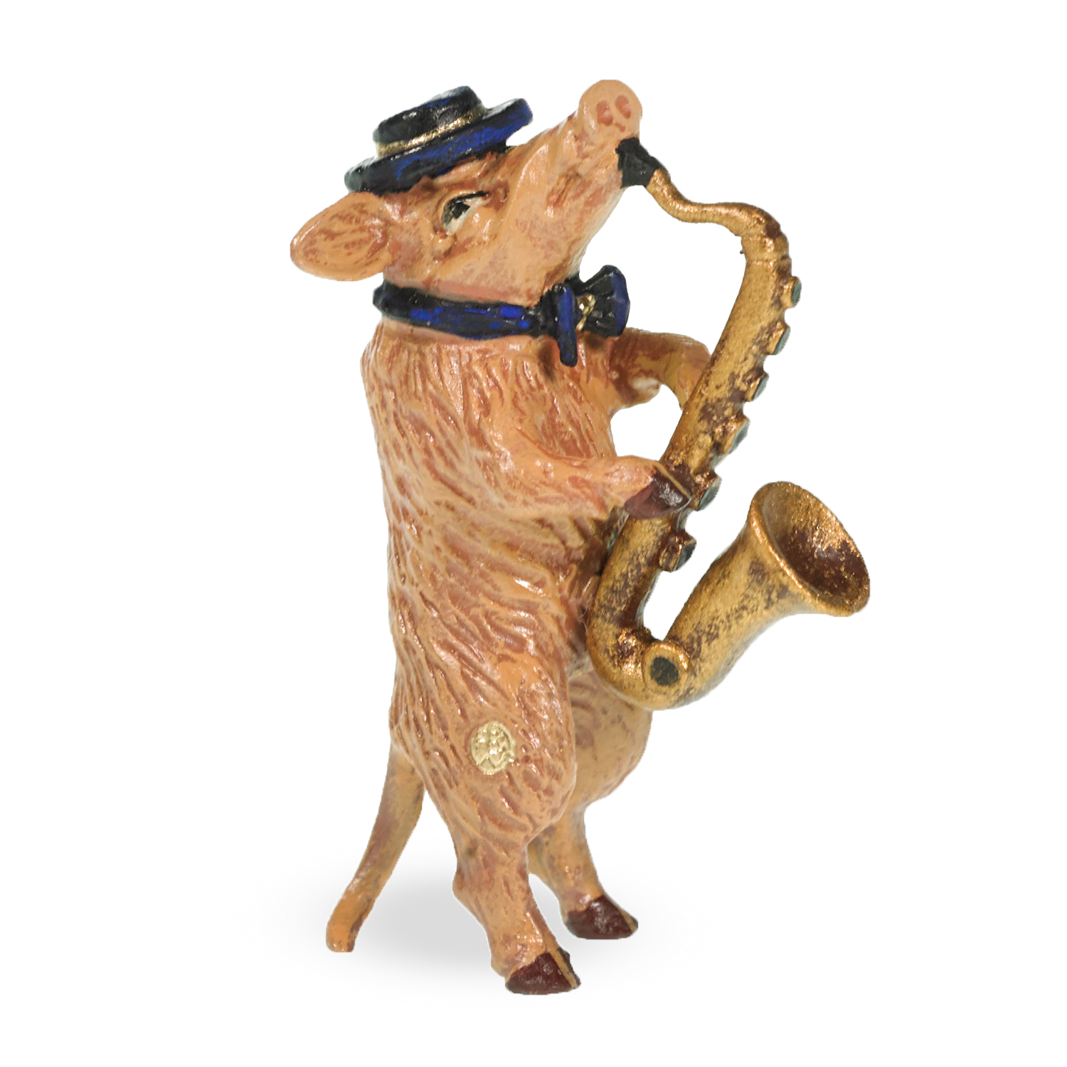 Austrian Bronze Pig with Saxophone