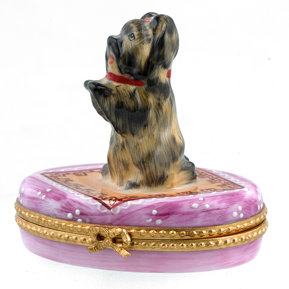 Upright Yorkie on Pink Limoges Box