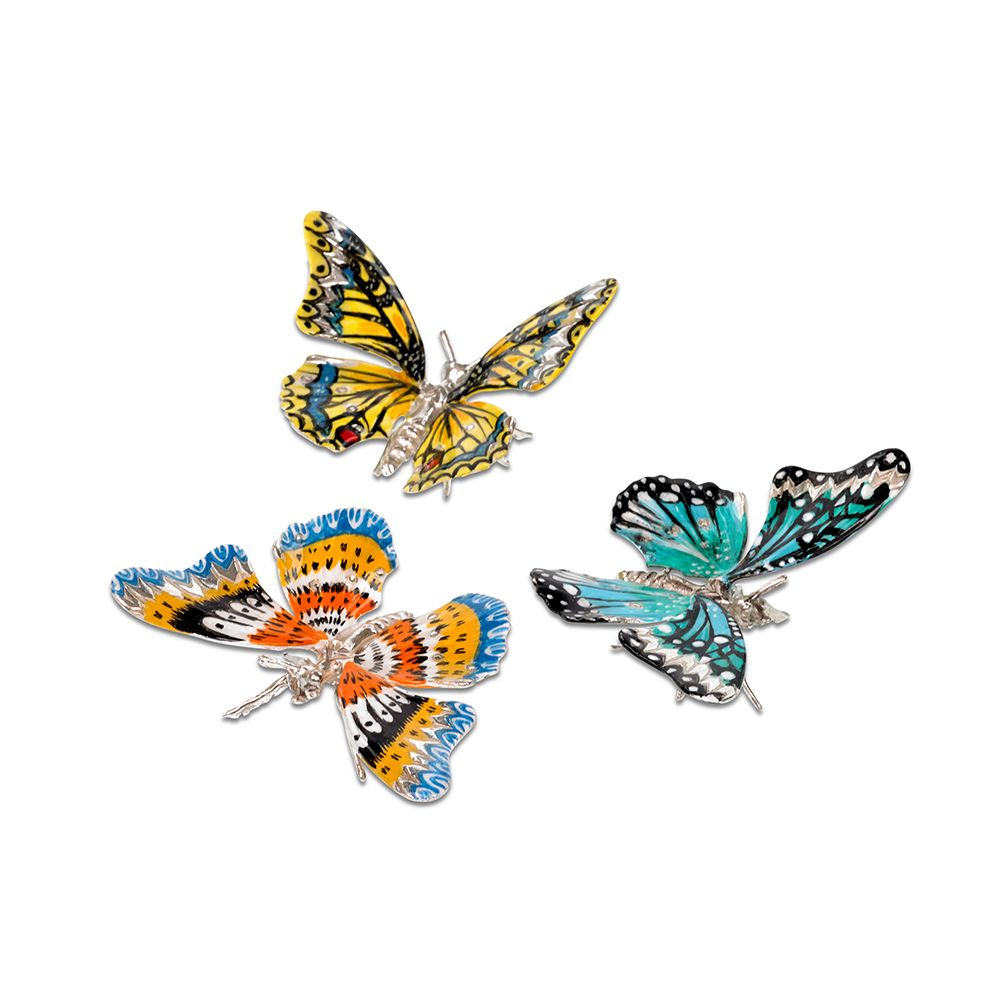 Sterling Silver and Enamel Butterflies