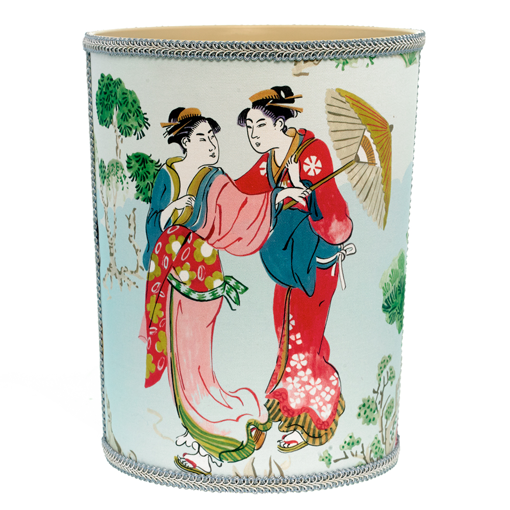 Chinoiserie Fabric-Covered Wastebasket