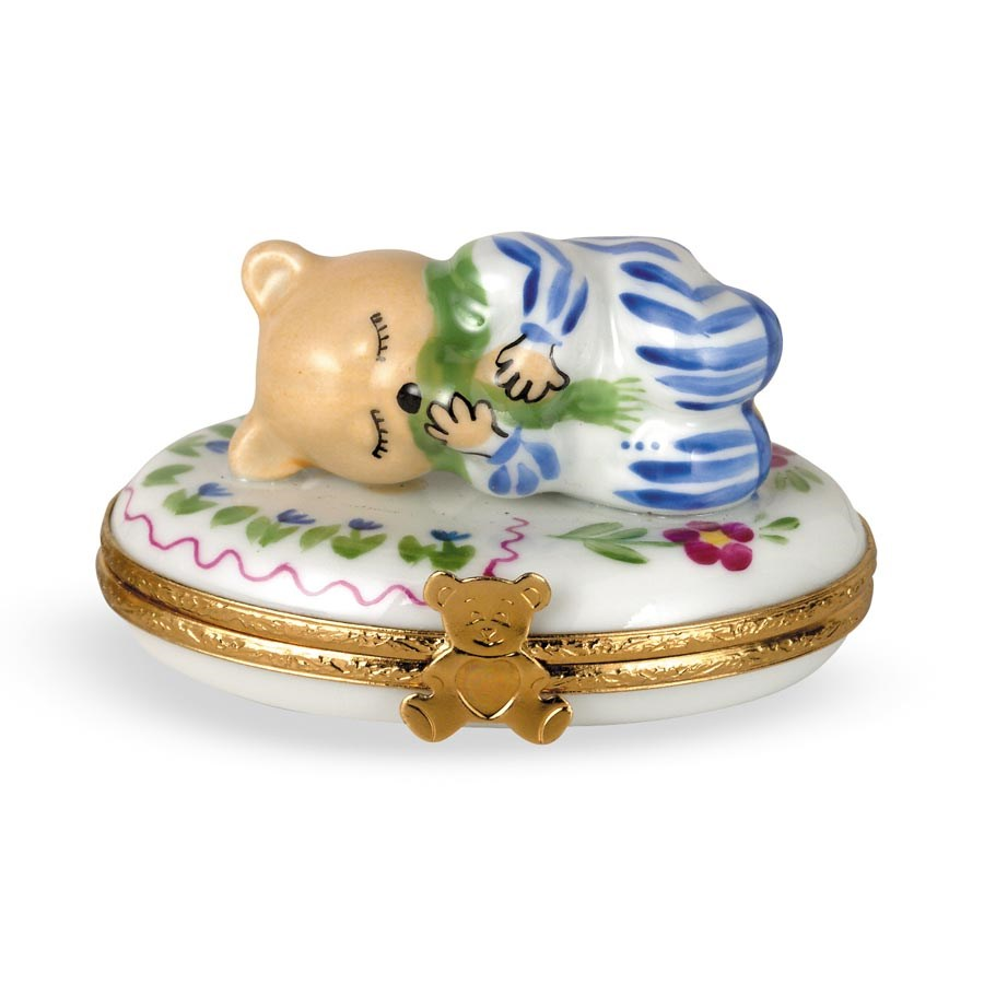 Collectible Ideas For Babies: Baby Boy Teddy Bear Limoges Box