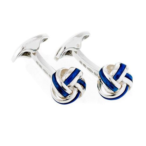 18K White Gold Royal Blue Enamel Knot Cufflinks