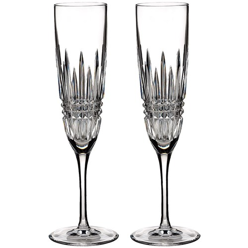 Waterford Lismore Diamond Champagne Flute, Pair