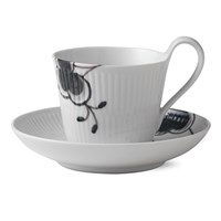 Royal Copenhagen Black Fluted Mega Bud High Handle Cup & Saucer