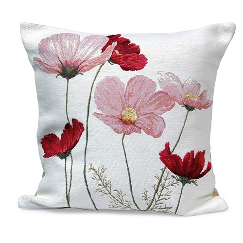 Six Cosmos Flowers on White Tapestry Pillow
