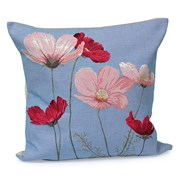 Cosmos Flowers on Violet Tapestry Pillows