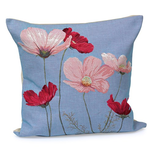 Six Cosmos Flowers on Violet Tapestry Pillow