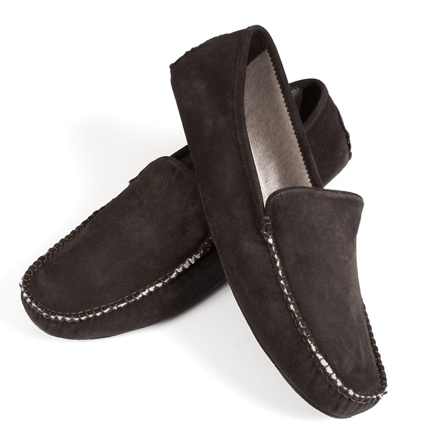 Mens Cashmere Suede Moccasin Slippers