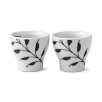 Royal Copenhagen Black Fluted Mega Egg Cup, 2 pack