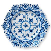 Royal Copenhagen Blue Fluted Full Lace Plate with Double Lace Border