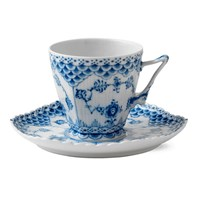 Royal Copenhagen Blue Fluted Full Lace Cup & Saucer