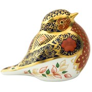 Royal Crown Derby Old Imari Solid Gold Band Robin Paperweight