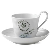 Royal Copenhagen Fluted Signature High Handle Cup & Saucer