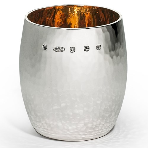 Sterling Silver Extra Heavy Hammered Barrel Beaker