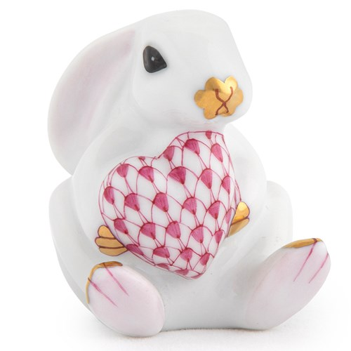 Herend White Bunny with Pink Heart