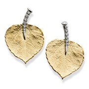 19k Yellow Gold Aspen Leaf with Diamond Stem Earrings