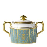 Royal Crown Derby Regency Turquoise Covered Sugar Bowl