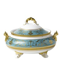 Regency Turquoise Covered Vegetable Dish
