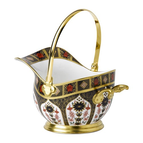 Royal Crown Derby Old Imari Solid Gold Band Coal Scuttle