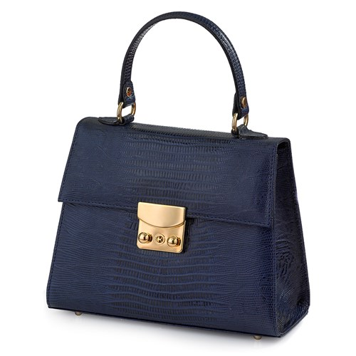 Faux Lizard Leather Bag, Navy