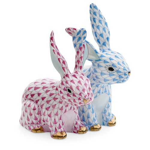 Twisted Bunnies, Raspberry & Blue