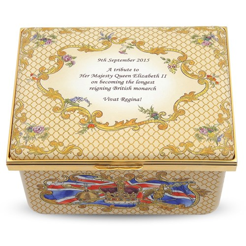 "Halcyon Days ""God Save the Queen"" Longest Reign Music Box"