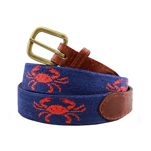Coral Crab on Navy Needlepoint Belt, Size 28