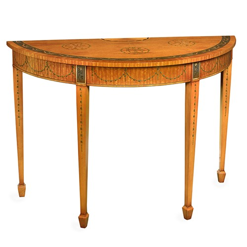 Decorated Satinwood Console Table
