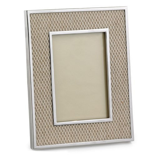 Nickel Plated Basket Weave Leather Frame, 4x6