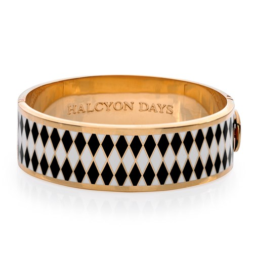 Halcyon Days Wide Parterre Hinged Bangle, Black