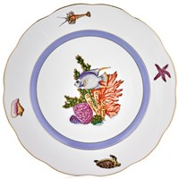 Herend Sea Life Large Dinner Plate, #2 Blue Fish