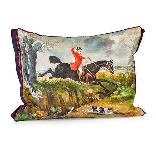 Handpainted Fox Hunt Silk Pillow, #11