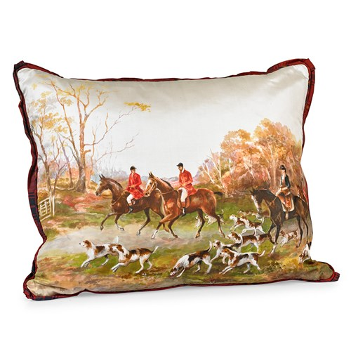 Handpainted Fall Fox Hunt Silk Pillow, #8