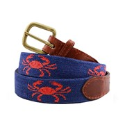 Coral Crab on Navy Needlepoint Belt