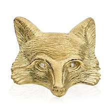 18K Yellow Gold Fox Face with Diamond Eyes Pin