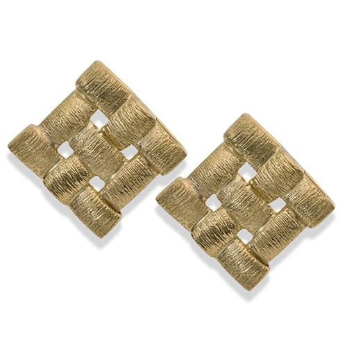 18K Yellow Gold Squared Weave Pattern Earrings, Clips