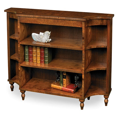 Shaped Burr Elm Open Bookcase