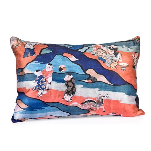 Chinoiserie Childhood Pillow, Kids at Play