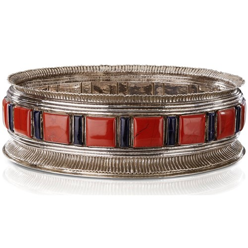 Buccellati Sterling Silver Centerpiece Bowl with Red Jasper & Lapis Lazuli