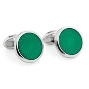 Halcyon Days Agama Engine Turned Sterling Silver Cufflinks