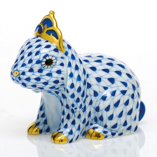 Herend Bunny with Tiara, Sapphire