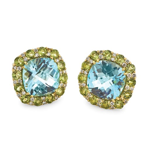 18k Yellow Gold Cushion Blue Topaz with Peridot Diamond Earrings, Clips