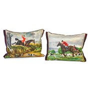 Handpainted Fox Hunt Silk Pillows