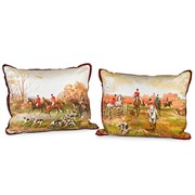 Handpainted Fall Fox Hunt Silk Pillows