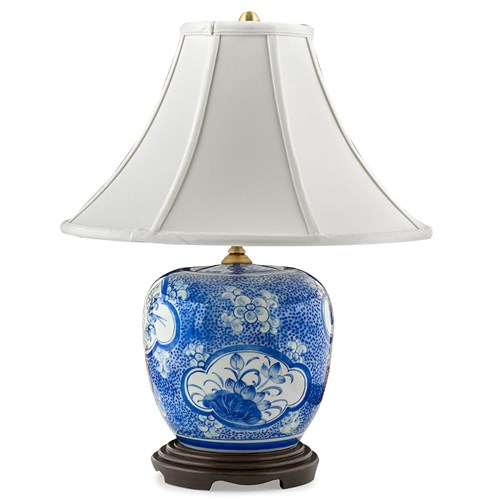 Blue & White Floral Panels Lamp